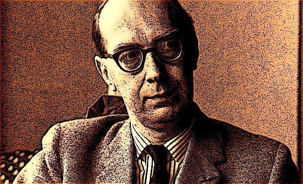 Philip Larkin sitting.