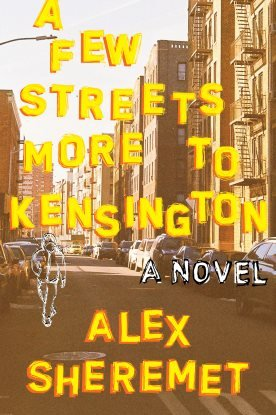 Cover for A Few Streets More To Kensington, with street and cartoon figure.