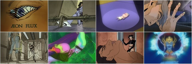 Eight screenshots from Aeon Flux