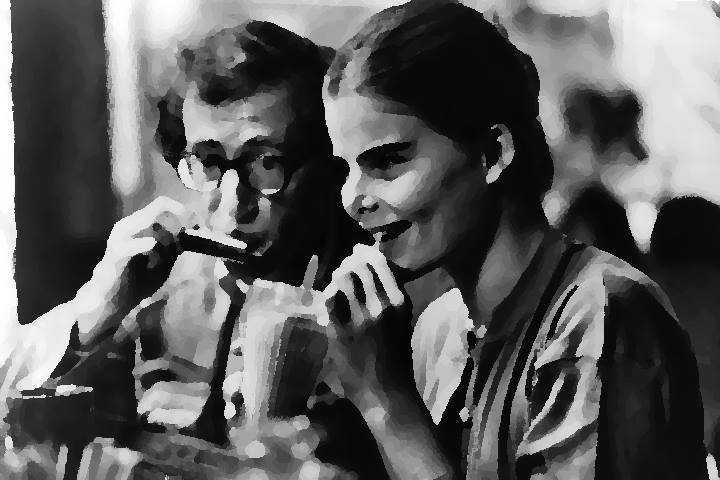 Mariel Hemingway sits next to Woody Allen in Woody Allen's Manhattan.