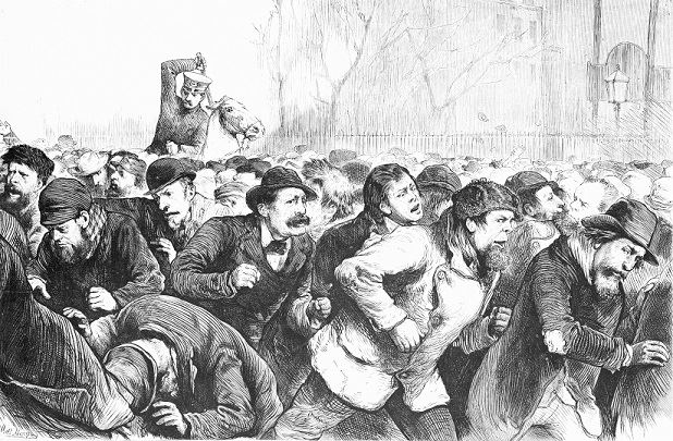Too often, police brutality is conflated with racism, when it's simply what an unregulated force does. Tompkins Square Riot (1874), via Wikipedia