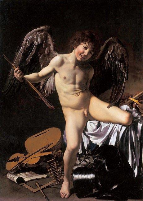 Michelangelo Caravaggio's Amor Vincit Omnia (1601-2). Image via Wikipedia.