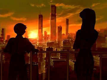 Neon Genesis Evangelion Shinji Misato Tokyo Sunset