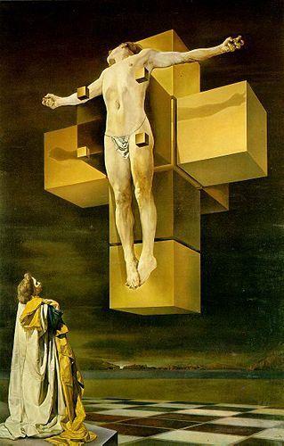 Salvador Dali Crucifixion Corpus Hypercubus Neon Genesis Evangelion