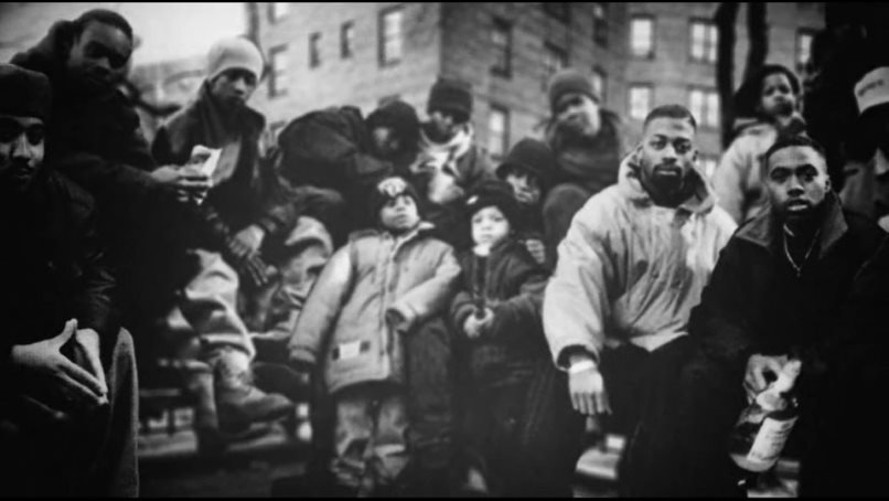 Nas and others in photo from Time Is Illmatic.